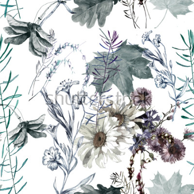 Vinilo grass flowers and leaves watercolor seamless pattern for fabrics, paper, wallpaper