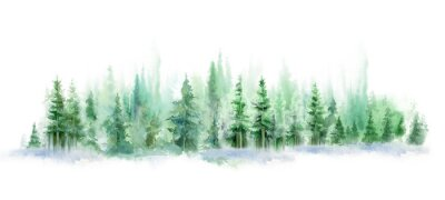 Vinilo Green landscape of foggy forest, winter hill. Wild nature, frozen, misty, taiga. watercolor background