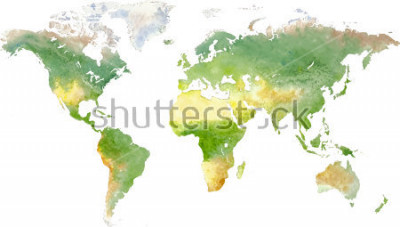 Vinilo Green vector world map in watercolor style