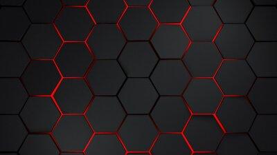 Vinilo Gris y rojo hexágonos ilustración de fondo moderno