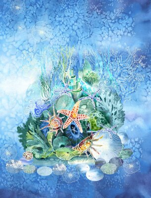 Vinilo Grotto. The fairy-tale palace of the little mermaid in the fantastic underwater world of jellyfish, shells, stones, algae and corals. Wallpaper for children, home decor, books, postcards, pool, spa.