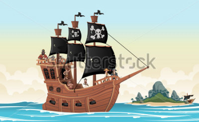 Vinilo Group of cartoon pirates on a ship at the sea