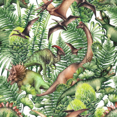 Vinilo Group of realistic watercolor dinosaurs surrounded by lush prehistoric plants. Animals of Jurassic period. Hand painted seamless pattern