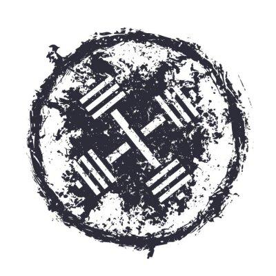 Vinilo grunge emblema con barras cruzadas ilustración vectorial, eps10