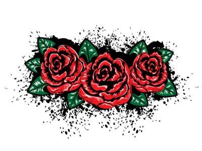 Vinilo Grunge Rosas con salpicaduras