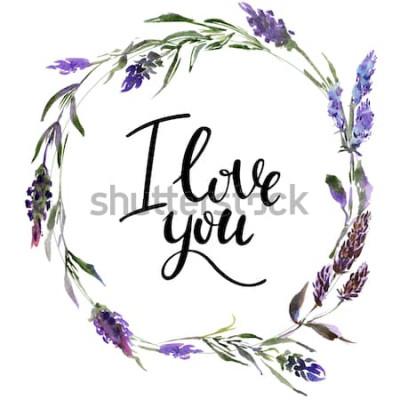 Vinilo Guirnalda de flores de San Valentín. Ilustración de flor acuarela con inscripción te amo