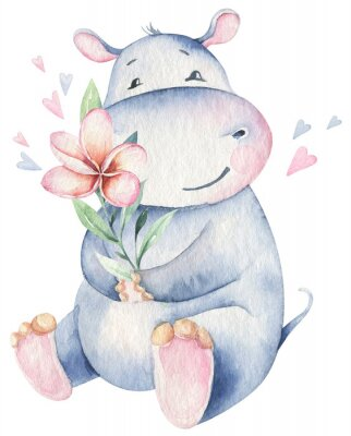 Vinilo Hand drawn cute isolated tropical summer watercolor hippo animals. hippopotamus baby and mother cartoon animal illustrations, jungle tree, brazil trendy design. Aloha collection.