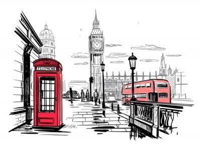 Vinilo hand drawn landscape of London city