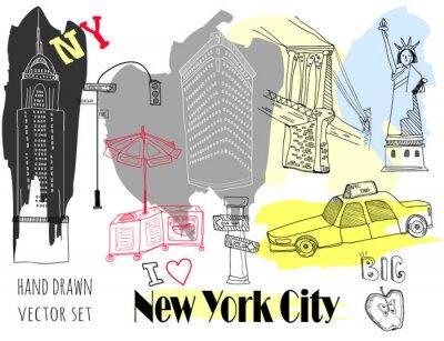 Vinilo Hand drawn New York elements. Colored graphic vector set