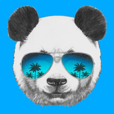 Vinilo Hand drawn portrait of Panda with mirror sunglasses. Vector isolated elements