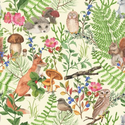 Vinilo Hand drawn seamless pattern with watercolor forest animals and plants. Pattern for kids wallpaper, wood inhabitants, cute animals