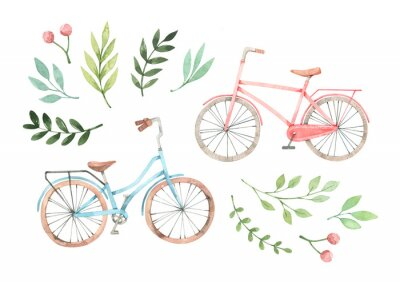 Vinilo Hand drawn watercolor illustration - Romantic bike with floral elements. City bicycle. Amsterdam. Perfect for invitations, greeting cards, posters, prints