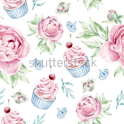 Vinilo Hand drawn watercolor pattern with cupcake and floral elements.Romantic concept.
