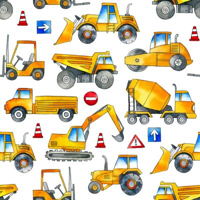 Vinilo Hand painted construction cars seamless watercolor pattern on white background.