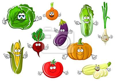 Happy Apetitoso Dibujos Animados Aislado Verduras Vinilos