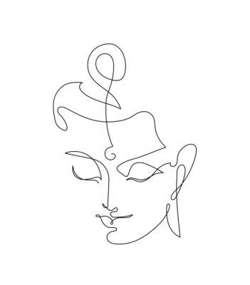 Vinilo Head Smiling Buddha. Linart drawings.
