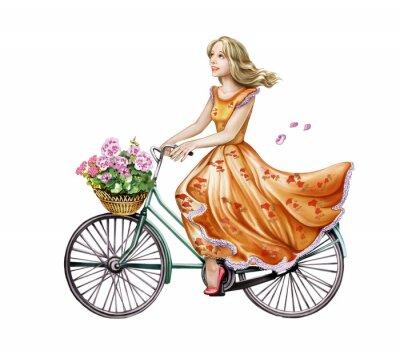 Vinilo hermosa chica en un vestido en una bicicleta