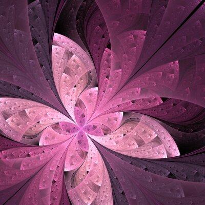 Vinilo Hermosa flor o mariposa diagonal de fractal en vidrieras