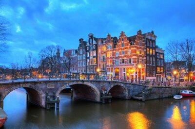 Vinilo Hermosa larga exposición imagen HDR del Brouwersgracht en Amsterdam, los Países Bajos, un sitio del patrimonio mundial de la UNESCO.