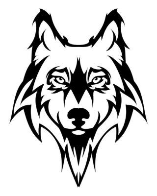 Vinilo Hermosa lobo tattoo.Vector cabeza de lobo como un elemento de diseño sobre fondo aislado