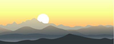 Vinilo Hermosa puesta de sol en las montañas. Paisaje vector horizontal.