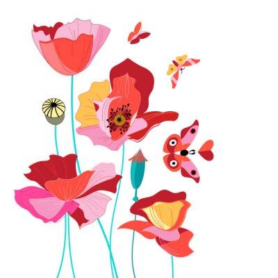 Vinilo Hermosa tarjeta con amapolas