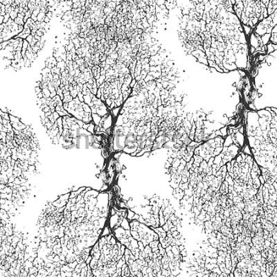 Vinilo Hermosas ramas de árbol sin hojas. Textura perfecta Patrón repetido Árbol de otoño Buen fondo original para tu blog.