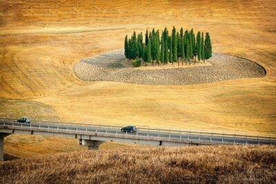 Vinilo Hermosas vistas del paisaje de verano en la Toscana