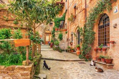 Vinilo Hermoso callejón en la ciudad vieja de Toscana