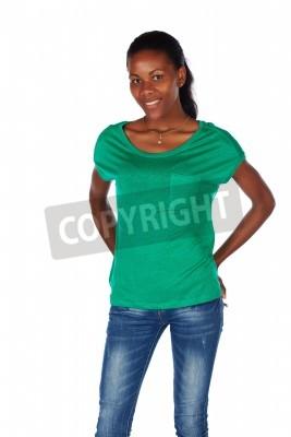 1e630bfd3fc42 Vinilo Hermoso negro africano mujer adulta joven casualmente vestida con  una camiseta verde esmeralda y blue