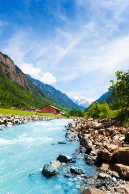 Vinilo Hermoso paisaje suizo con la corriente del río
