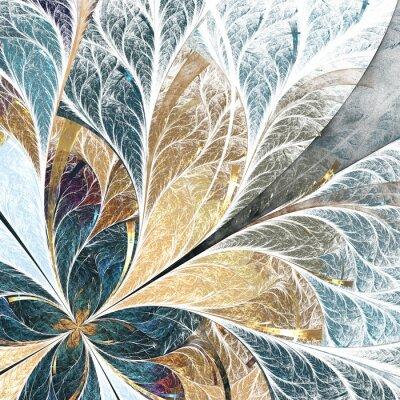 Vinilo Hermoso patrón de flores en estilo de ventana de vidrio de colores. Paleta amarilla y verde.