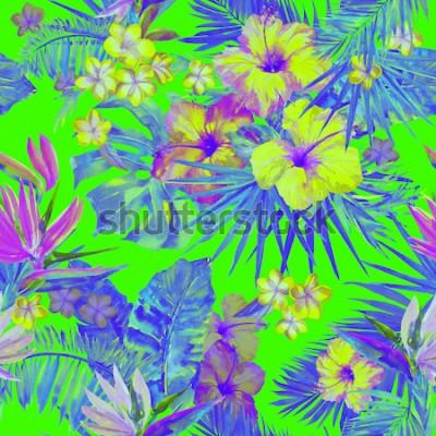 Vinilo Hermoso patrón tropical con pintura de flores de hibisco y ave del paraíso. Linda ilustración tropical pintada con plumeria, hojas de palma y hojas de plátano. Fondo tropical de color verde neón.