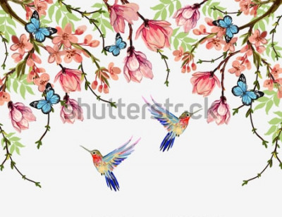 Vinilo Hermoso vector floral fondo de verano con flores tropicales japonesas, glicinias, magnolia, mariposas, magnolia. Perfecto para fondos de pantalla, fondos de páginas web, texturas superficiales, textil