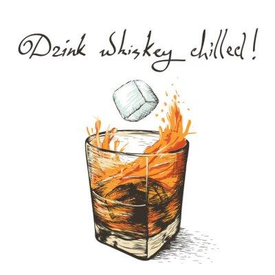 Vinilo Hielo cae en whisky