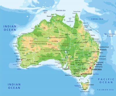 Vinilo High detailed Australia physical map with labeling.