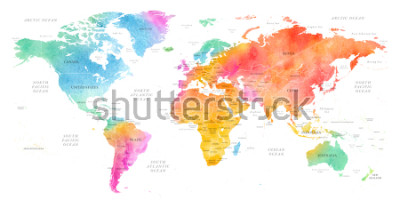 Vinilo High detailed Multicolor Watercolor World Map Illustration with borders, oceans and countries on white Background, Side View.