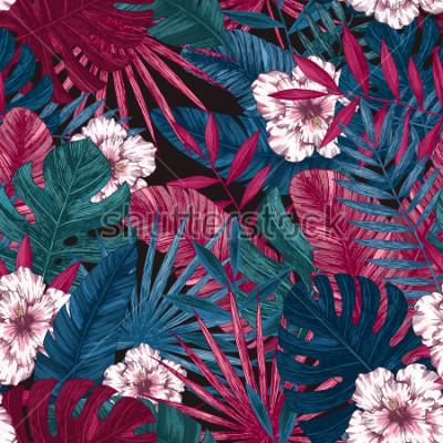 Vinilo Hojas exóticas y flores de patrones sin amenazas. Fondo floral tropical. Ilustración vectorial
