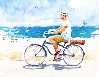 Vinilo Hombre en Bicicleta Escena de playa de verano Acuarela Ilustración Pintado a mano
