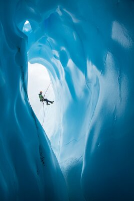 Vinilo Hombre, Rappelling, pasado, apertura, azul, hielo, cueva, Matanuska, glaciar, Alaska