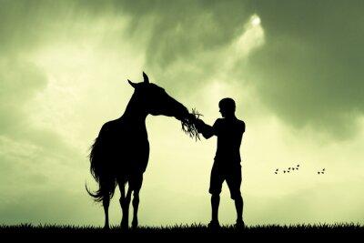 Vinilo Hombre y caballo al atardecer