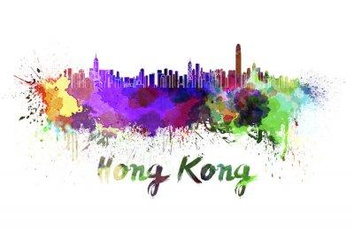 Vinilo Horizonte de Hong Kong en acuarela