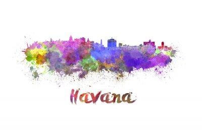Vinilo Horizonte de La Habana en acuarela