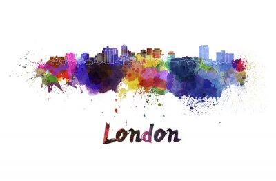 Vinilo Horizonte de Londres en acuarela