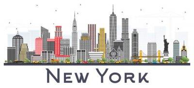 Vinilo Horizonte de Nueva York Estados Unidos con gris rascacielos aislados sobre fondo blanco.