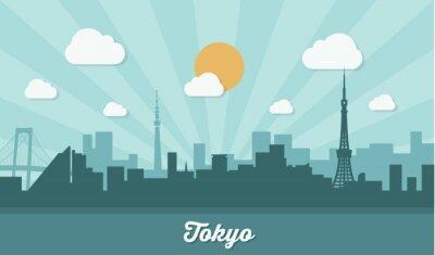 Vinilo Horizonte de Tokio - diseño plano