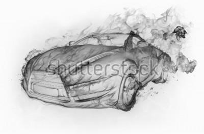 Vinilo Humo-coche aislado en un fondo blanco. Diseño original del coche.