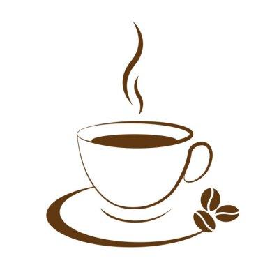 Vinilo icono de la taza de café caliente