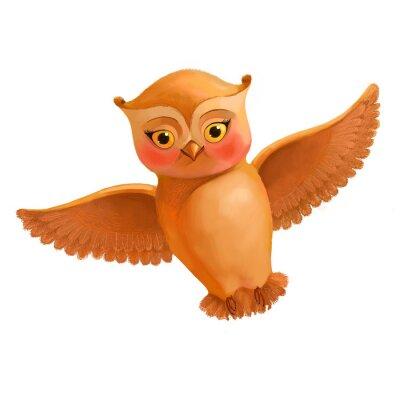 Vinilo Icono del búho que vuela. Ilustración en estilo de dibujos animados de un búho marrón. S