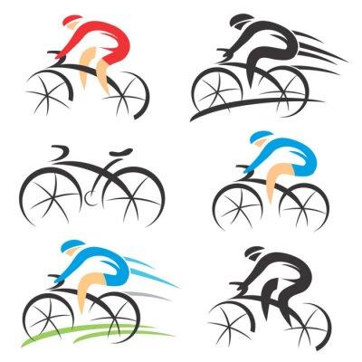 Vinilo Iconos con ciclista estilizada